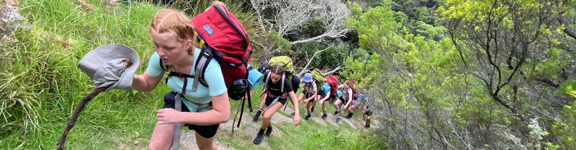 Adventure Plus group reach the top of steep bush trail