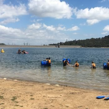 Adventure Plus camp raft building
